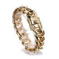 qualität gold ton schmuck großhandel-18mm männer Ornamente Armband Schmuck Trendy Hochwertigem Edelstahl Goldton Miami Curb Kubanischen Kette Heißer Verkauf 7-11 zoll