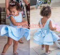 шейные галстуки оптовых-Голубое платье для малышей на свадьбу с круглым вырезом и бабочкой с оборками Puffy Little Florwer Girls Вечернее платье для детей Конкурс коротких платьев для вечеринок на день рождения