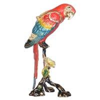 macaws papağanı toptan satış-Amerika papağanı Papağan Biblo Kutusu Emaye Menteşeli Mücevher Kutusu Kalaylı Süs Hediyeler Kuş Heykelcik Masa