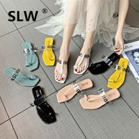 sapatos de salto alto venda por atacado-Slides Sapatos Low Socofy Mulheres de salto Quadrado Chinelos Transparentes Fenty Beleza Sliders Verão Macio De Luxo 2019 Peles Planas PU Básico