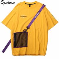 bolso da camisa amarela venda por atacado-2019 Homens Harajuku T Shirt Zipper Bolsos Swag Fita Hip Hop Streetwear T-Shirt de Algodão de Manga Curta de Verão Amarelo Tshirt Hipster