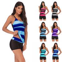 gestreifte kleidfarbe großhandel-Frauen Tankini Striped Swim Sommer Schwimmen Sexy Kleid Farbverlauf Plus Size Separates Kostenloser Versand DH0010