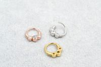 Wholesale 18g lip jewelry resale online - 50pcs Body Jewelry Piercing Shine CZ Gems Ear Helix Bar Lip Rings Bend Nose Septum Ring NEW G Sliver Gold Black