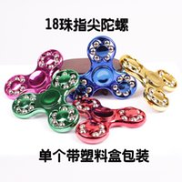 erwachsene perlen großhandel-Kreative neue 18 Perlen Drei-Blatt-Kunststoff-Beschichtung Finger Spinner Kinder Erwachsene Stahlkugel Fingerspitze Spielzeug Fabrik Großhandel