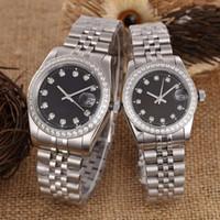 relógio luxo diamante digital venda por atacado-Luxo amante das mulheres dos homens relógios famoso designer de diamante mecânico automático casal relógios de Pulso 316 aço inoxidável congelado relógio