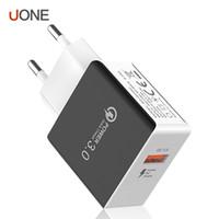 ingrosso eu plug mela-QC 3.0 Veloce caricabatterie da muro USB caricabatterie rapidi Wall Adapter 5V 3A 9V 2A di potere di corsa di ricarica rapida della spina UE per Apple iPhone