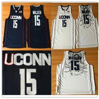 top jerseys usa al por mayor-Uconn Huskies 15 Kemba Walker College Jerseys University usa NAVY hombres blancos NCAA baloncesto cosido jerseys S-2XL de calidad superior