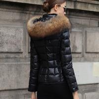 parka quente das mulheres venda por atacado-Mulheres Winter Jackets luxo França jaqueta outerwear casaco de inverno de Down Coats Magro Parkas Raccoon Fur Collar Down Jacket inverno quente Coats