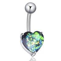 brilho de opala venda por atacado-Aço cirúrgico Umbigo Umbigo Anel Opala Glitter Coração Piercing Umbigo Prego TT @ 88