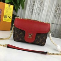 Wholesale bb reds for sale - Group buy 2019 M55978 My Lockme Bb Calfskin Fashion Red Chain Shoulder Bags Hobo Handbags Top Handles Boston Cross Body Messenger Shoulder Bags