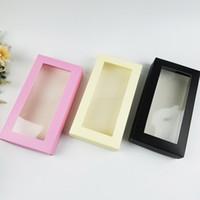 caixas de presente janelas venda por atacado-Papel descartável Caixas de presente caixa de embalagem com papel de janela transparente Caixa de meias Roupas de carteira longa caixas de embalagem 21x11x3.5cm FFA2409