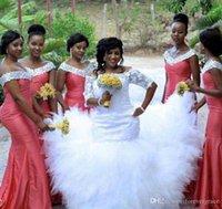kavun gelinlik modelleri toptan satış-2019 Afrika Nijeryalı Nedime Elbisesi Su Kavun Uzun Bahar Yaz Örgün Düğün Konuk Onur Hizmetçi Kıyafeti Artı Boyutu Custom Made