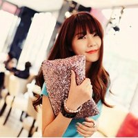 Wholesale patent genuine leather hand bag resale online - 2018 New Fashion Handbags Retro Luxury Full Sequins Clutch Evening bags Hand Bag Clutch Bag