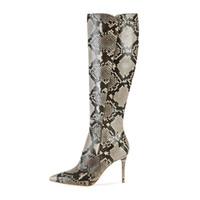 botas de tornozelo serpentina venda por atacado-Alta Quailty Mulheres Bota sobre o joelho 2019 Serpentina Outono Inverno Coxa Botas Altas Moda Sapatos de Inverno das Mulheres Poited Toe Tornozelo Botinhas