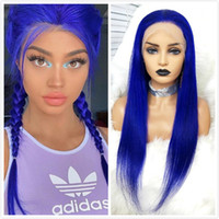 Wholesale brazilian long human hair wigs resale online - Blue Lace Front Human Hair Wigs Brazilian Virgin Straight Hair Density Transparent Lace Frontal Wigs With Baby Hair for Women