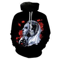 mode für junge schwarze männer großhandel-NEUE ANKUNFT 3D Skull Print Tasche Casual Black Hoodie für junge Männer Designer Hoodies Fashion Hipster Männer und Frauen Sweatshirt