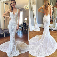 Wholesale couture backless wedding dresses resale online - Pallas Couture Wedding Dresses V Neck Sweep Train Lace Appliqued Sexy Backless Beach Wedding Dress Custom Made Mermaid Gowns Robes De Mariée