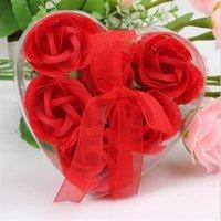 papel rosa hecho a mano al por mayor-6 unids set caja de pvc lleno en forma de corazón hecho a mano pétalo de rosa pétalo flor de papel de jabón para el día de san valentín regalos de la fiesta de cumpleaños