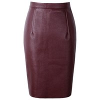 Wholesale mid waist shorts pu for sale - Group buy 2019 Sexy Faux Fur Leather Pu High Waist Midi Women Pencil Skirts Xxl Office Wrap Bodycon Short Girls Tutu Saia S08019
