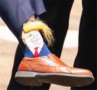 Wholesale adult pattern socks resale online - President Donald Trump Unisex Socks with D Fake Hair Funny Pattern Adults Middle Long Stockings Men Women Crew Socks Xmas Gift A52210
