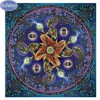 Wholesale 12 zodiac puzzle resale online - Mosaic full embroidery D diy zodiac mandala diamond painting d picture Stitch Cross Diamond Mosaic puzzle painting sticker art