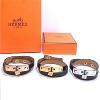 bracelete da corda da esperança venda por atacado-Tom esperança pulseira 4 tamanho Handmade Triplo Preto fio da corda pulseira de aço inoxidável preto âncora encantos pulseira com caixa e tag KKA1992