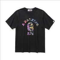 ingrosso magliette di colore bianco della donna-Alta Qualità Nuova Estate Adolescente Colore Camo Cartoon Stampa Nero Bianco T-Shirt Uomo Donna Casual Girocollo Hip Hop T-Shirt Taglie M-2XL