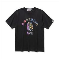 siyah tişörtlü hip hop toptan satış-Yüksek Kalite Yeni Yaz Genç Renk Camo Karikatür Baskı Siyah Beyaz T-Shirt Erkek Kadın Casual Yuvarlak Boyun Hip Hop T-Shirt Boyutları M-2XL