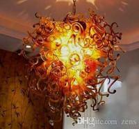 Wholesale fancy long chain for sale - Group buy Artistic Lamps Fancy Glass Lighting Antique Blown Glass Chandelier Long Chain Decorative LED Hanging Blown Glass Chandelier