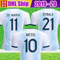 kostenlose fußball-uniformen großhandel-Dhl-freies verschiffen 2019 argentinien fußball trikots argentinien hause fußball hemd 2018 # 10 messi # 9 aguero # 21 dybala # 11 di maria fußball uniform