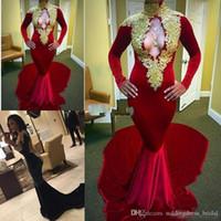 robes de soirée en or vintage achat en gros de-Robes de bal de sirène de velours rouge africain 2019 Sexy Keyhole Neck Gold Appliques robes de soirée à manches longues Vintage pas cher robes de soirée