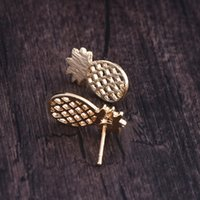 Wholesale gold post studs resale online - Bijoux Fashion Woman Elegant Cute Earrings Gold Sliver Surface Fruit Pineapple Minimalist Post Stud Earrings Jewelry Gift E060