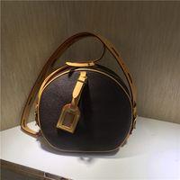 shouler handtaschen großhandel-2019 BOITE CHAPEAU Shouler Bag Berühmte Marke Handtaschen M52294 Echtes Leder Umhängetaschen BOITE CHAPEAU Geldbörse Kleine Runde Tasche Drop Shipping