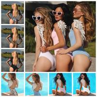 Wholesale wing jumpsuit online - Women Swimsuit Angel Wing one piece Bikini Stylish Sexy backless leopard print Jumpsuits Summer Beach swimming Beachwear AAA1994
