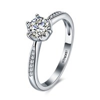 Wholesale simple elegant wedding ring sets resale online - Simple Designed Rings Platinum Plated Geometric Pattern Prong Setting Mosaic Zircon Band Ring Romantic Elegant Wedding Party Gifts POTALA833