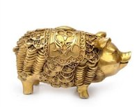 Wholesale pig carving resale online - New Feng Shui lucky money pig copper jewelry gifts crafts talisman office decoratioN
