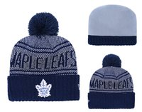 Wholesale purple yellow sports hats resale online - Winter sports beanies high quality Newest Beanies TORONTO MAPLE LEAFS Pom Knit Hats Sports Beanie Cap Beanies Hat Mix More Styles