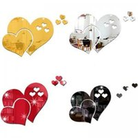 Wholesale 3d art stickers for sale - 3D Heart Shaped Mirror Wall Sticker Removable Living Room DIY Art Decal Decor Modern Room Wedding Decoration LJJW114