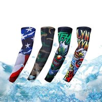 Wholesale uv protection cycling arm warmers resale online - 2pcs Cycling Sleeves Printed Armwarmer MTB Bike Bicycle Sleeves Arm warmer UV Protection Ridding Arm