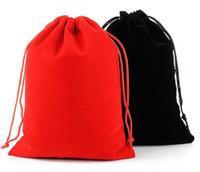 Wholesale large wedding favor bags resale online - 17x23CM Large Drawstring Bag Wedding Favor Jewelry Makeup Packaging Gift Velvet Pouch Bag