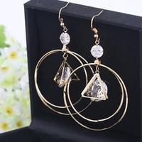 triángulo círculo joyería al por mayor-Joyas de diseño pendientes de aro grandes círculo largo redondo triángulo encanto pendientes para las mujeres al por mayor moda caliente