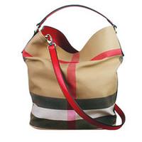 doğrudan satış çantası toptan satış-Yeni nokta ile kadın çanta kova çanta aynı paragraftan tuval ekose çanta omuz Messenger çanta doğrudan satış