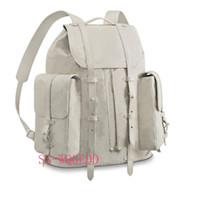 рюкзак рок оптовых-Новый топ дизайнер рюкзак m53286 один прозрачный белый кожаный книга рюкзак сингл Жан сумочка спортивный рюкзак скалолазание пляжная сумка