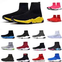 corredores vintage al por mayor-Mens diseñador de zapatos Speed Trainer Calcetines Calzado para las mujeres Negro de la vendimia del brillo gris Triple S Botas de alta Top Runner calcetín arranque Formadores planas