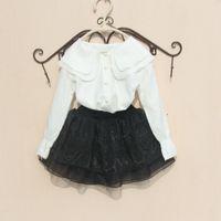 blusa de gasa negra para niñas al por mayor-Pute White Girls School Blusas Chiffon Spring 2020 Ropa de cuello vuelto para niña pequeña Falda negra Ropa para niños Nuevo
