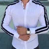 elegante camisa de vestir masculina al por mayor-Nuevos hombres de moda de lujo con estilo Slim Fit camisas de vestir de manga larga para hombre de negocios camisas de vestir formales Tops para hombres # 389170