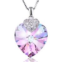 collar de amatista joyas corazón al por mayor-Joyería de lujo Amatista Colgante de Cristal Collar Forma de Corazón Gargantilla Regalo para Lady Collares Joyería Fina