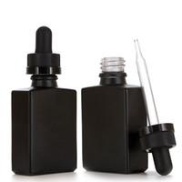 yağ şişeleri toptan satış-30 ml Siyah Buzlu Cam Sıvı Reaktif Pipet Damlalıklı Şişeler Kare Uçucu Yağ Parfüm Şişesi Duman yağı e sıvı Şişeler