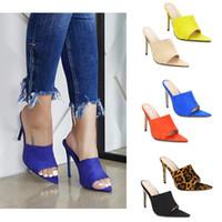 turuncu topuklu ayakkabı toptan satış-Simmi EGO Briana Bitch INS Sıcak Sivri Stiletto Yüksek Topuk Yaz Sandalet Kadın Ayakkabı Şeker Turuncu Mavi Yeşil Çıplak Siyah