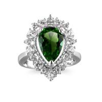 anéis de zircão à venda venda por atacado-Euramerican Venda Hot criativa Gotas Zircon Mulheres Anéis com Big Stone Verde / Azul Cristal Zircon Wedding Rings Jóias Anel